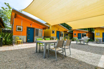 Dine outdoors under the shades at Kokopelli West.