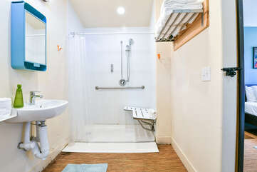 Another view of the bathroom in our studio accommodation in Moab, Utah.