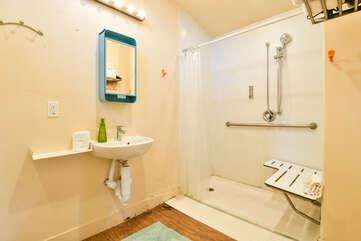 Bathroom in our studio accommodation in Moab, Utah.