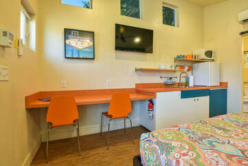 Kitchenette in our studio accommodation in Moab, Utah.