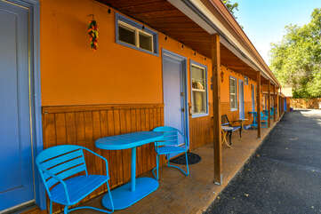 Exterior and Blue Patio Furniture of Kokopelli Lodge #7