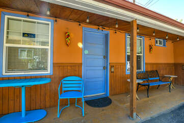 Orange and Blue Exterior of Moab Places to Stay