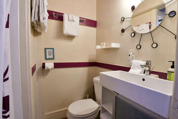 Bathroom with large sink and shower
