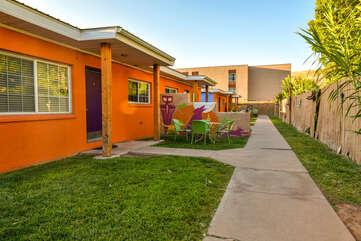 Exterior and Shared Yard at Moab Vacation Rental