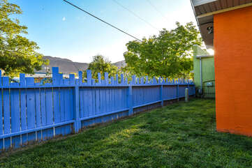 Shared Yard with Blue Fence at Lodging in Moab Utah Area