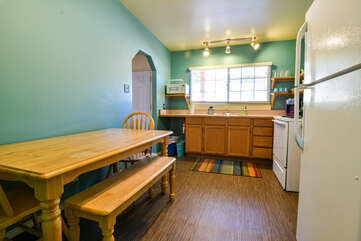 Kitchen and dining area with window