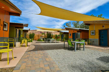 Shared Patio of this community of vacation rentals in Moab Utah.