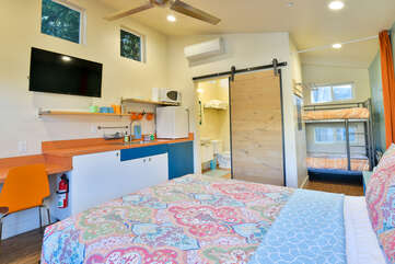 Studio View with kitchenette and nearby bunk beds