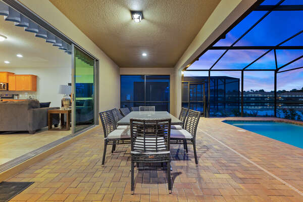 The sliding patio doors lead right to the living area