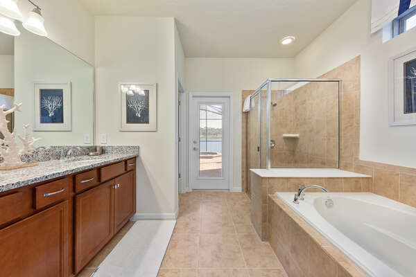 The beautiful ensuite bathroom that has direct access to the private lanai