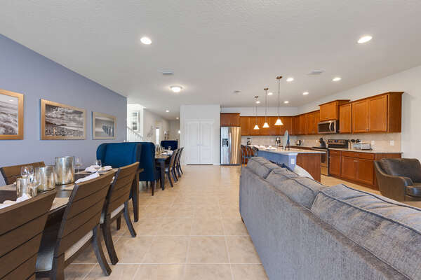 The open-concept floorplan is great for quality family time