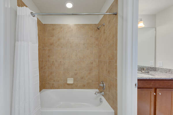 Shower tub combination and large vanity