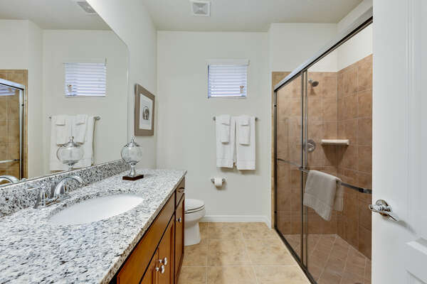 Ensuite bathroom with a beautiful walk-in shower