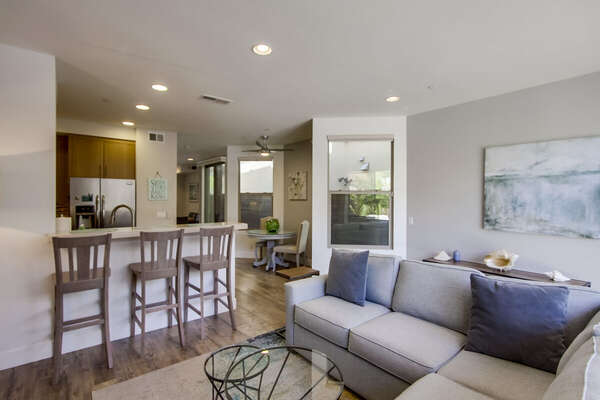 Living Room and Kitchen in Vacation Rental in San Diego CA.