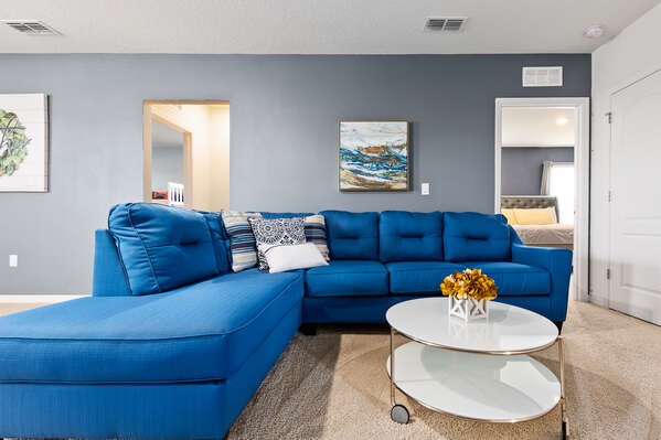 Room for the whole family on the comfortable sectional
