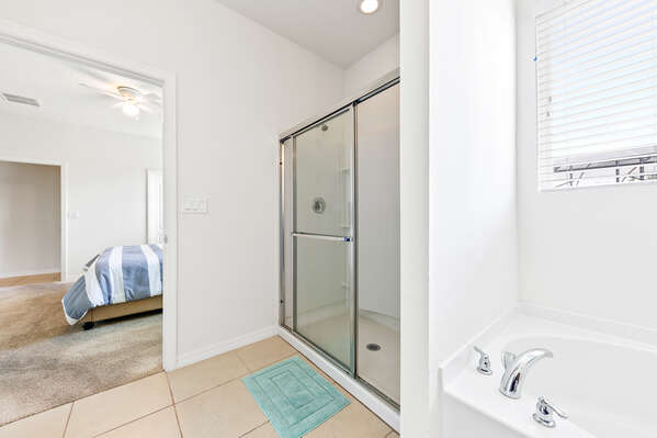 Soak in the garden tub or was off after hours in the pool in the walk-in shower
