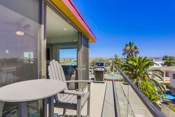 Third Floor Deck of this San Diego Vacation Rental Home with BBQ and seating.