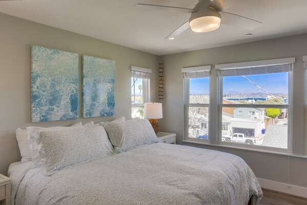 Master Bedroom of this San Diego Vacation Rental Home with Bay Views.