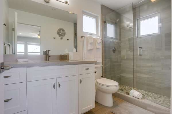 Master Bath with walk-in shower and vanity sink beside a toilet.
