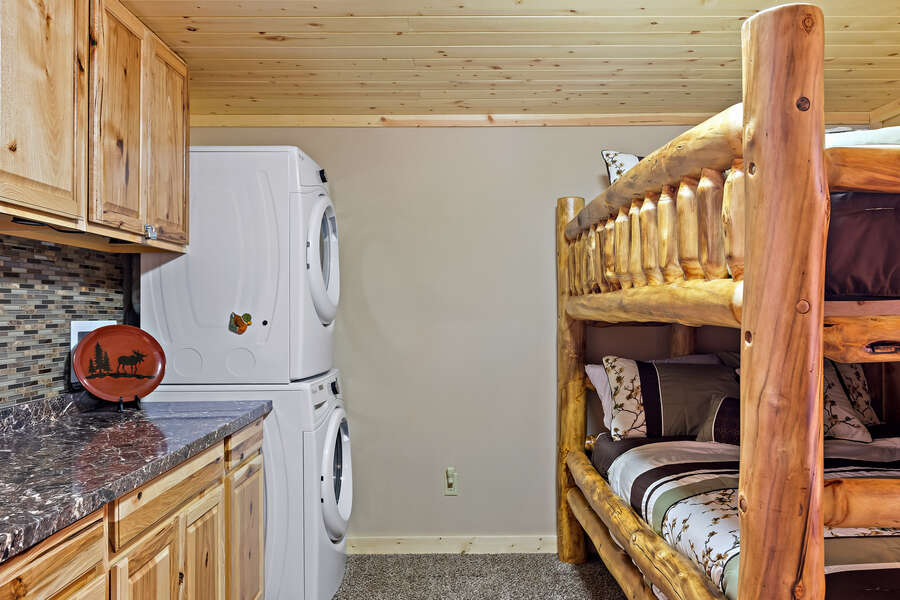 Huckleberry Hollow ~ full over full bunk bed in common area / laundry room