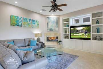 Watch the game or your favorite golf tournament on the large HDTV