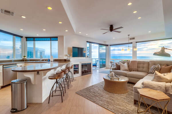 Open Layout with Panoramic Ocean Views in this Vacation Rental Near San Diego.
