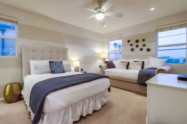Guest Room with Queen Bed + Twin Daybed with Twin Trundle.
