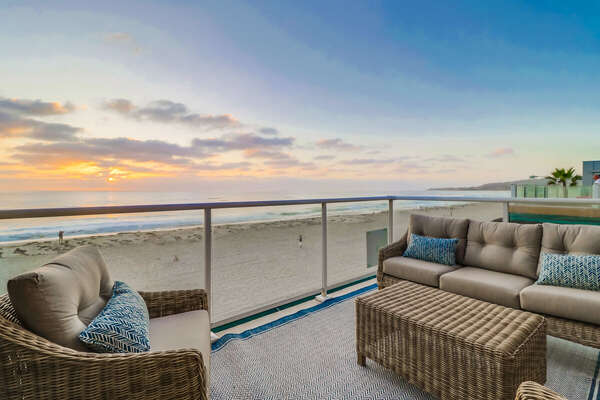Front Deck of this Vacation Rental Near San Diego Connects to Living Area & Master Suite.