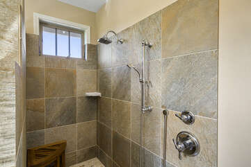 The walk-in shower of the master bathroom.