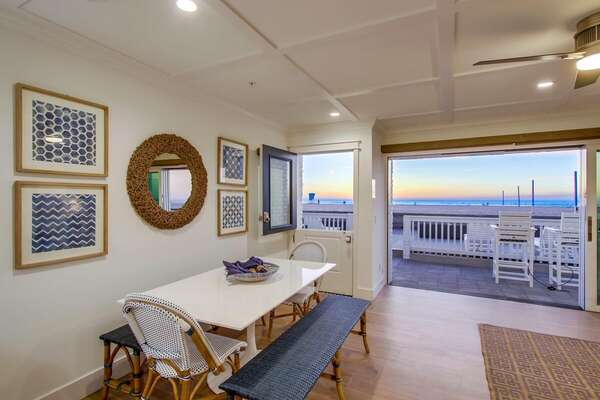 Dining Area in our Beachfront Rental in San Diego Seats up to 8