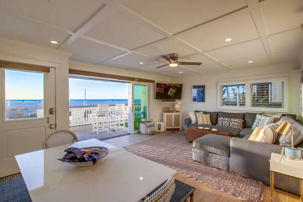Indoor/Outdoor Living with Ocean Views in our Beachfront Rental in San Diego