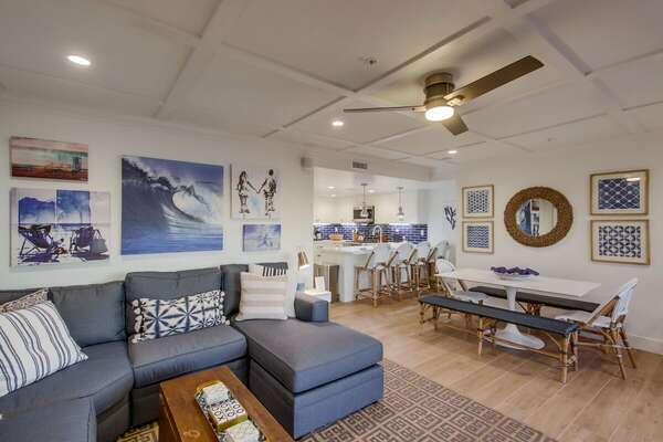 Living Room and Dining Area in our Beachfront Rental in San Diego