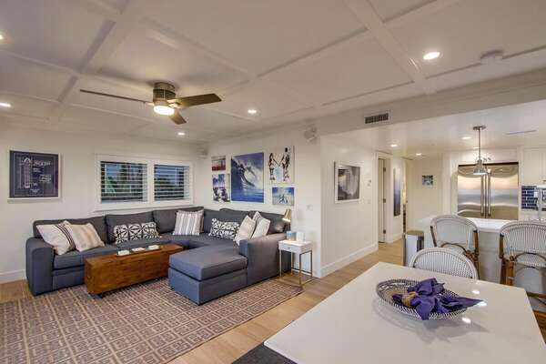 Spacious Living Room and Dining Area in our Beachfront Rental in San Diego
