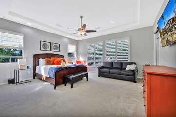 The master bedroom is enormous with a King size bed, Queen sofa sleeper and 55