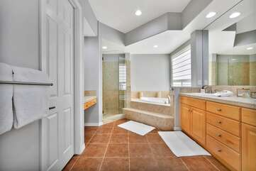 Large master bathroom has a huge shower, roman tub and his & hers sinks. Bathroom 1 full bath