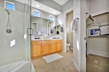 Master bedroom suite 2 walk in closet and large bathroom are attached and private