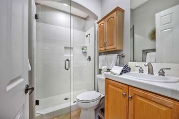 Bathroom 3 is across the hall from bedroom 3. Full Bath