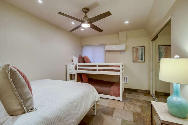 Guest Room Includes Queen Bed and Twin/Twin Bunk Bed.