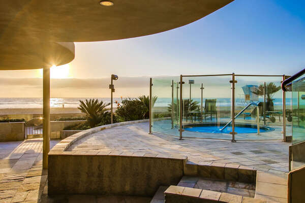 Backyard Includes Oceanfront Jacuzzi.