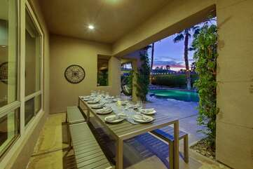 PLENTY of outdoor seating at the dining table so your whole group can sit at the same table for your event