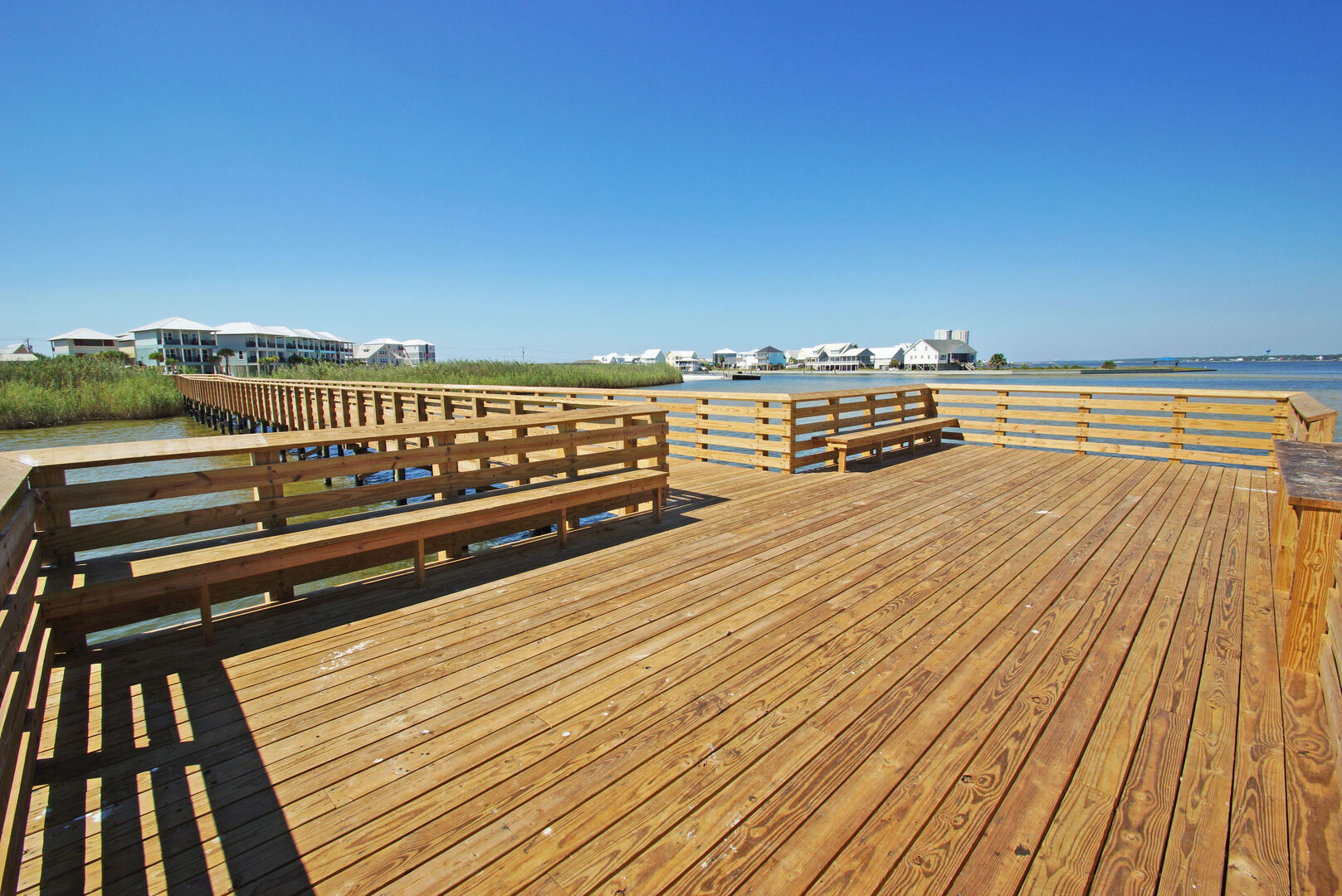 Large pier is perfect for fishing