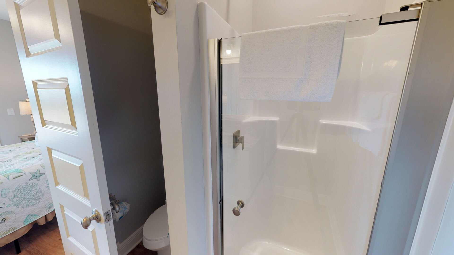 Walk-In Shower and Toilet.