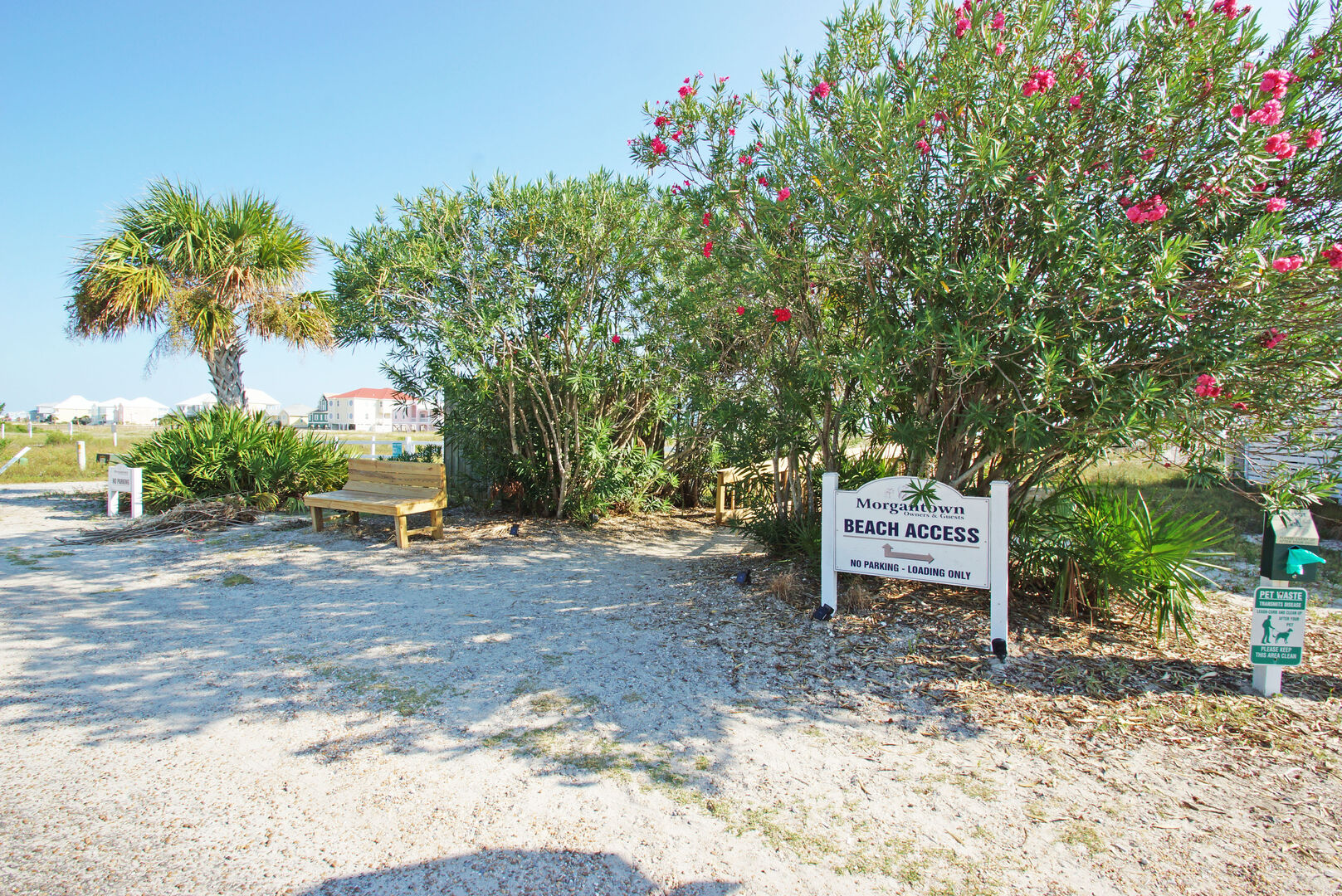 Picture of the Beach Access Sign, a Bench, and Ornamental Plants.