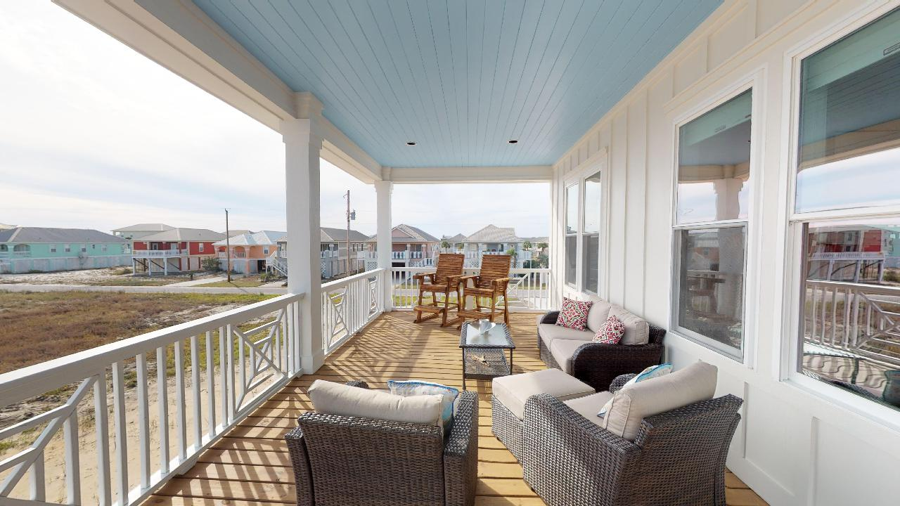 Relax on the huge porch and enjoy the view from several chairs!