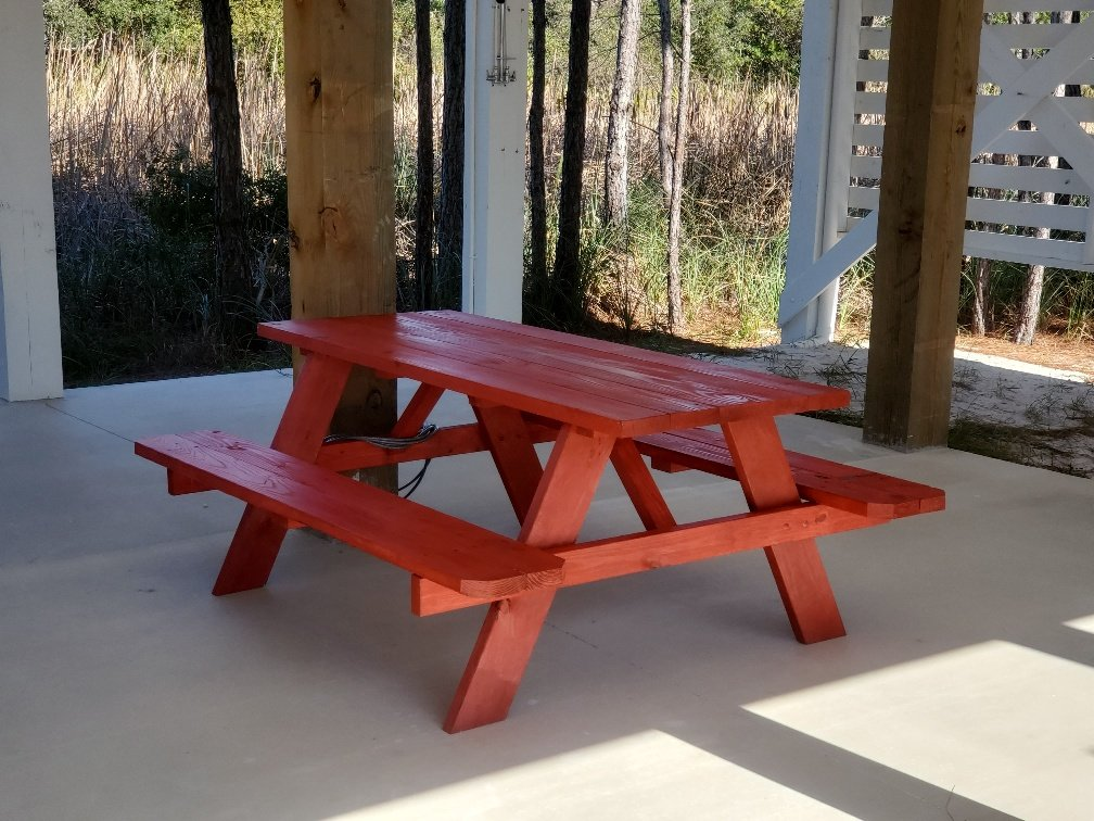 Picnic Table in the Under Home Shaded Area.