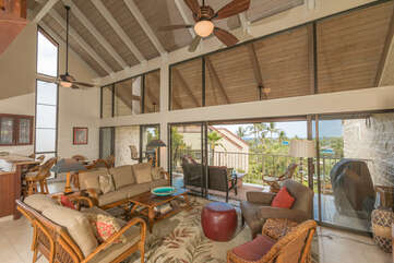 Spacious living area opens to large lanai