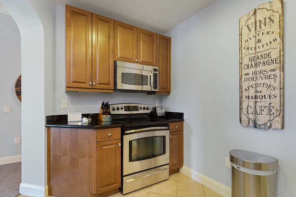 Complete with stainless steel appliances