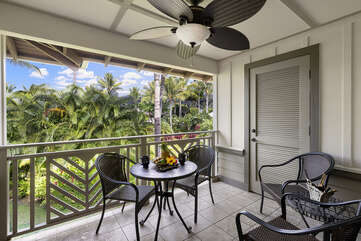 Private lanai with tropical island views