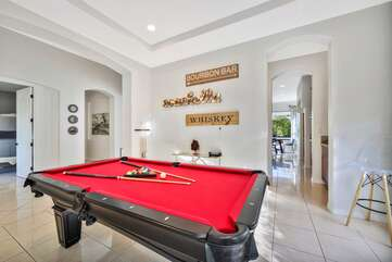 The pool table room is a favorite hangout for guests