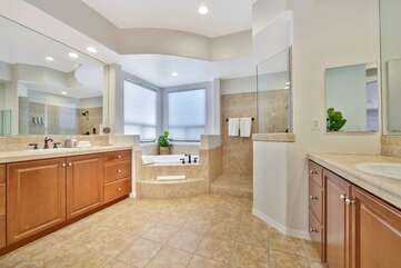 Master bath has 2 seperate his & hers sink areas Bathroom 1
